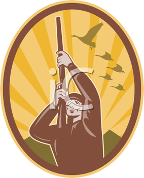 Royalty Free Clipart Image of a Hunter Shooting Geese