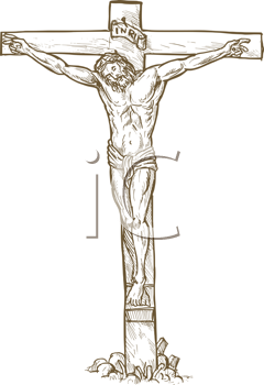 Royalty Free Clipart Image of Jesus on the Cross