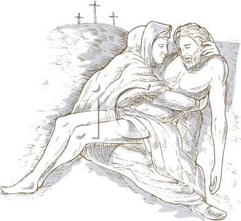 Royalty Free Clipart Image of Mary and Christ