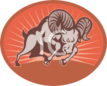 Royalty Free Clipart Image of a Ram