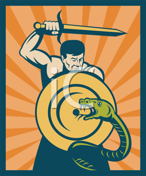 Royalty Free Clipart Image of a Warrior Fighting a Snake