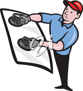 Illustration of an automotive glass installer installing windshield done in cartoon style on isolated white background.