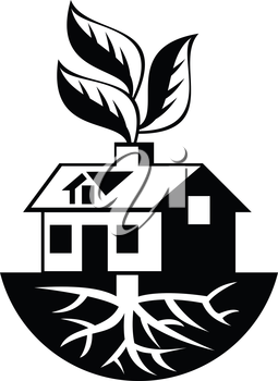 Illustration of a house with roots and leaves sprout from chimney done in black and white.