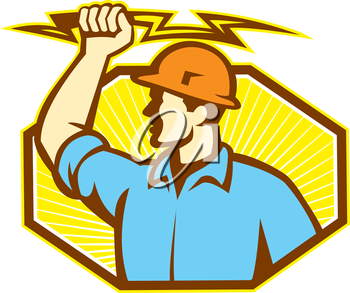 Illustration of an electrician wielding holding a lightning bolt facing side done in retro style in isolated white background.