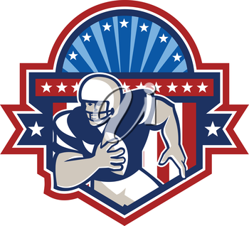 Illustration of an american football gridiron quarterback player throwing ball facing front set inside crest shield with ribbon, stars and sunburst done in retro style on isolated background.