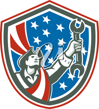 Illustration of an american mechanic patriot holding wrench spanner set inside shiekld with usa stars and stripes in the background done in retro style.