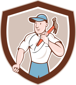 Illustration of a builder construction worker carpenter holding hammer on shoulder looking to the side set inside shield crest on isolated background done in cartoon style.