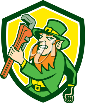 Illustration of a leprechaun holding monkey wrench running facing side set inside shield crest on isolated background done in retro style.