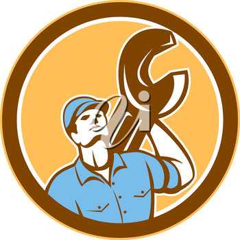 Illustration of a mechanic wearing hat holding spanner wrench on shoulder looking up set inside circle on isolated background done in retro style.