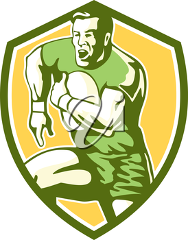 Illustration of a rugby player holding ball running goose steps charging set inside shield crest on isolated background done in retro style.