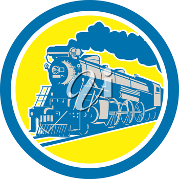 Illustration of a steam train locomotive traveling set inside circle on isolated background done in retro style.