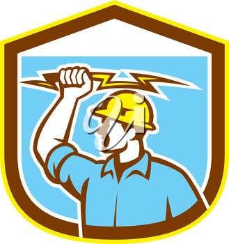 Illustration of an electrician construction worker holding a lightning bolt set inside shield crest done in retro style on isolated background.