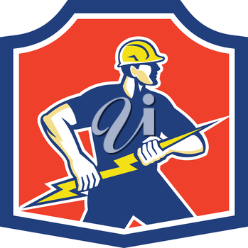 Illustration of an electrician holding a lightning bolt facing side done in retro style set inside a crest.