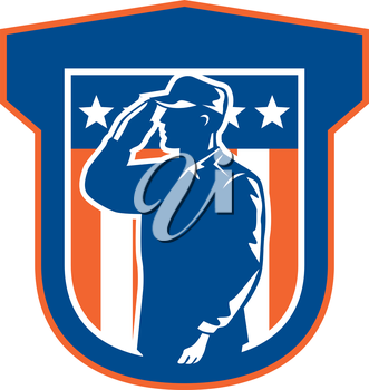 Illustration of an American military serviceman salute saluting side view with stars and stripes in background set inside a shield done in retro style.