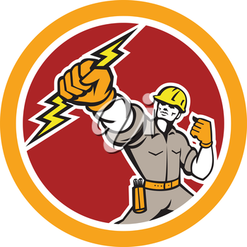 Illustration of an electrician construction worker power lineman wielding holding a lightning bolt set inside circle done in retro style on isolated white background.
