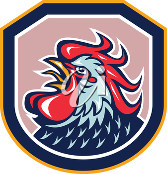 Illustration of a rooster cockerel head crowing facing side set inside shield crest shape done in retro style on isolated background.