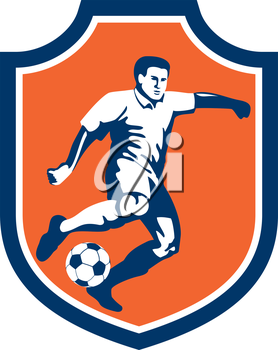 Illustration of a soccer football player kicking soccer ball set inside shield crest done in retro style.