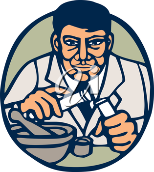 Illustration of a scientist holding test tube facing front set inside circle done in retro woodcut linocut style.