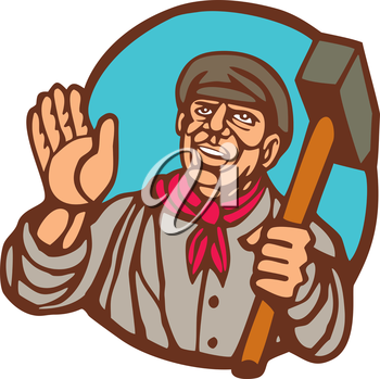 Illustration of a union worker holding sledgehammer hammer set inside circle on isolated background done in woodcut linocut style.