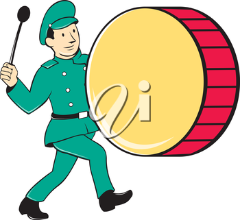 Illustration of a marching band brass band drummer beating drum viewed from side on isolated background done in cartoon style.