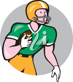 Illustration of an american football gridiron player holding ball rusher running looking to the side set inside circle on isolated background done in cartoon style.