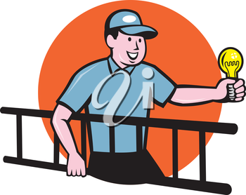 Illustration of an electrician worker carrying ladder on one hand and holding a light bulb in the other hand facing side set inside circle on isolated background done in cartoon style.