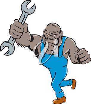 Illustration of an angry gorilla ape mechanic standing with spanner punching facing front set on isolated white background done in cartoon style.
