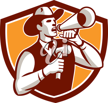 Illustration of a cowboy auctioneer holding bullhorn and gavel shouting announcing viewed from the side on isolated background set inside shield crest done in retro style.