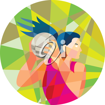 Low polygon style illustration of a netball player catching rebounding ball looking to the side set inside circle.