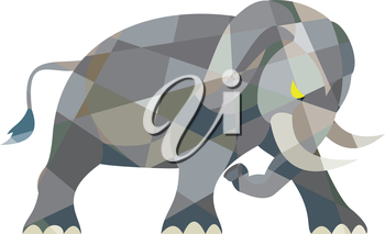 Low polygon style illustration of an elephant attacking viewed from the side set on isolated white background.