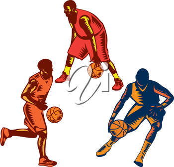 Illustration of a collection or set of basketball player dribble dribbling ball on isolated white background done in retro woodcut style.