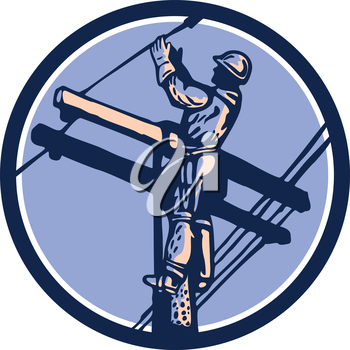 Illustration of a power lineman telephone repairman worker clmbing electric pole post repairing power cable done in retro style set inside circle.