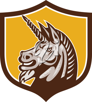 Illustration of a unicorn horse head viewed from the side set inside shield crest on isolated background done in retro style.