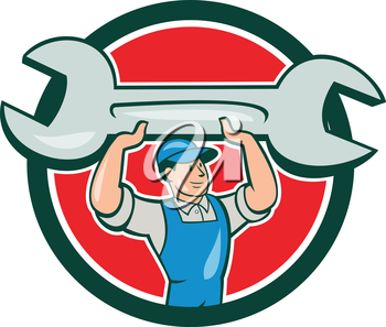 Illustration of a mechanic wearing hat and overalls looking to the side lifting giant spanner wrench viewed from front set inside circle on isolated background done in cartoon style.