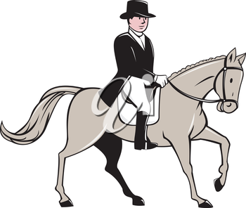Illustration of an equestrian rider wearing tophat riding horse dressage viewed from the side set on isolated white background done in cartoon style.
