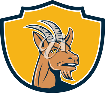 Illustration of mountain goat head looking to the side set inside shield crest on isolated background done in cartoon style.