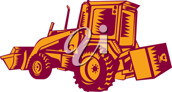 Illustration of a construction digger mechanical excavator viewed from side rear set on isolated white background done in retro woodcut style.