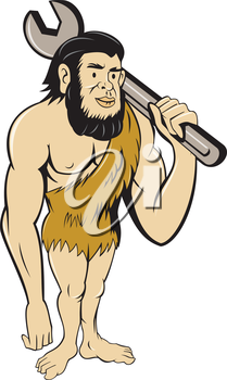 Illustration of a neanderthal man or caveman standing carrying spanner on shoulder set on isolated white background done in cartoon style.
