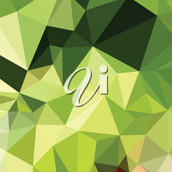 Low polygon style illustration of electric lime green abstract geometric background.