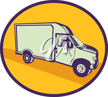 Illustration of a closed delivery van viewed from the side set inside circle on isolated background done in retro woodcut style.