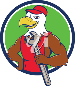Illustration of a american bald eagle mechanic holding spanner looking to the side with one hand on hips set inside circle done in cartoon style.
