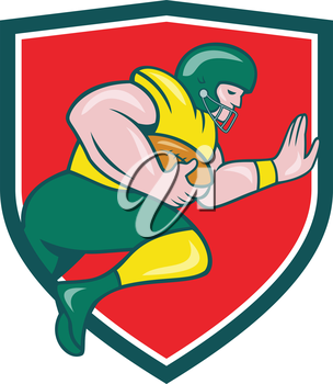 Illustration of an american football gridiron player running back charging with ball viewed from the side set inside shield crest on isolated background done in cartoon style.