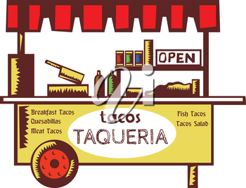 Illustration of a taco stand, food stall, food cart, taquer�a or restaurant that specializes in tacos and other Mexican dishes viewed from front set on isolated white backgound done in retro style.
