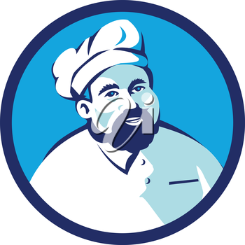 Illustration of a baker chef cook with beard wearing hat smiling facing front set inside circle on isolated background done in retro style.