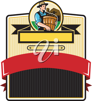 Illustration of an organic farmer carrying basket of harvest crops looking to the side with barn in the background set inside circle and badge with ribbon done in retro style.