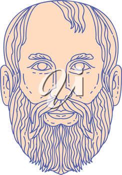 Mono line style illustration of the Greek philosopher Plato head viewed from front set on isolated white background.