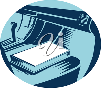 Illustration showing Close up of The Book sitting on the passenger seat of car set inside oval shape done in retro woodcut style.
