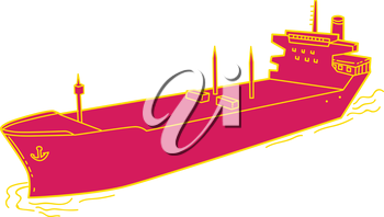 Mono line style illustration of a passenger cargo container ship on sea set on isolated white background.