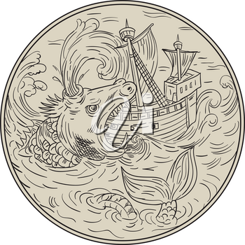 Drawing sketch style illustration of an ancient sea monster attacking devouring a sailing ship in turbulent sea ocean water set inside circle.