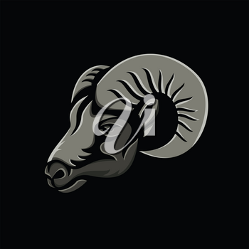 Metallic style flat icon or mascot illustration of a male bighorn or long-horned sheep ram viewed from side on isolated black background.